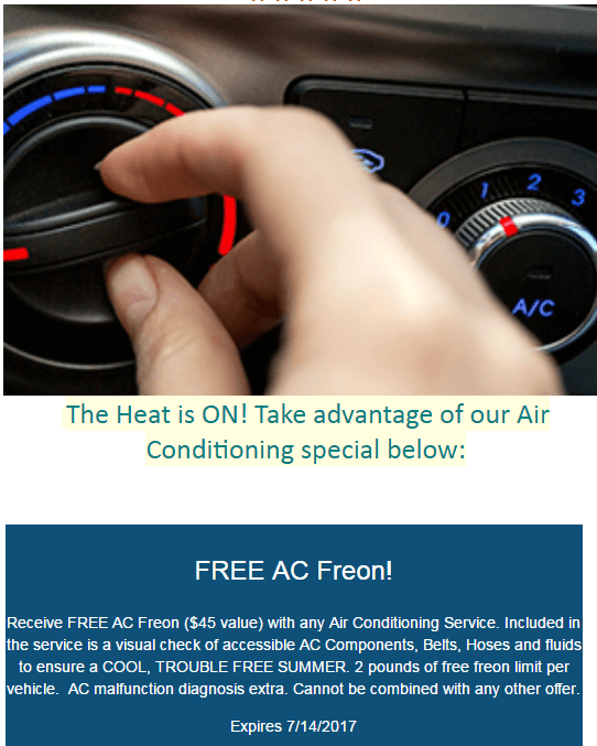 The Heat is ON! Save on AC Service with FREE Freon